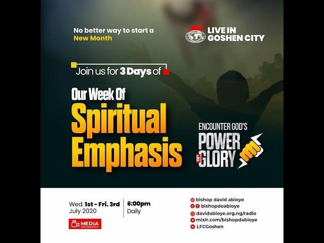 WEEK OF SPIRITUAL EMPHASIS - DAY 1 (1/7/20)