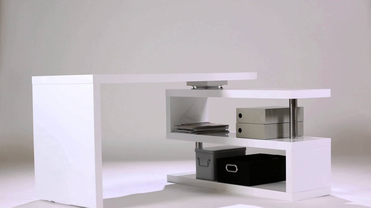 bureau design blanc laqu amovible max youtube. Black Bedroom Furniture Sets. Home Design Ideas