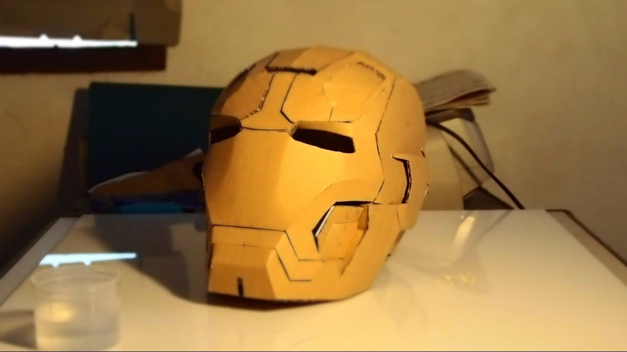 how to build a cardboard iron man helmet