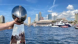 Tampa Bay Buccaneers Super Bowl boat parade through downtown Tampa