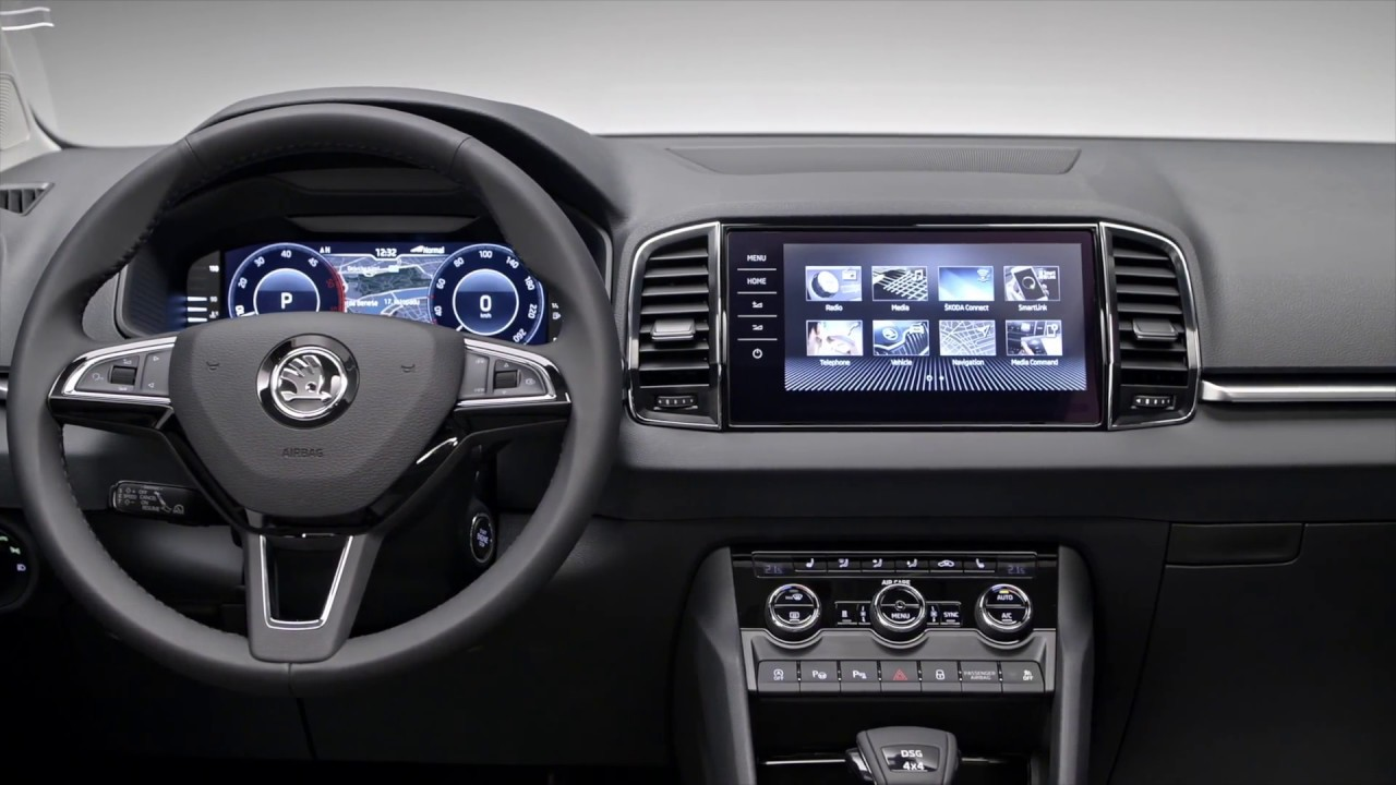 skoda karoq cockpit youtube. Black Bedroom Furniture Sets. Home Design Ideas