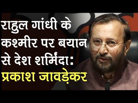 Rahul Gandhi के Kashmir बयान पर देश शर्मिंदा: Prakash Javadekar