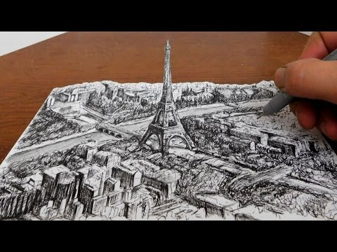 Drawing the Eiffel Tower - City Landscape 3D Art