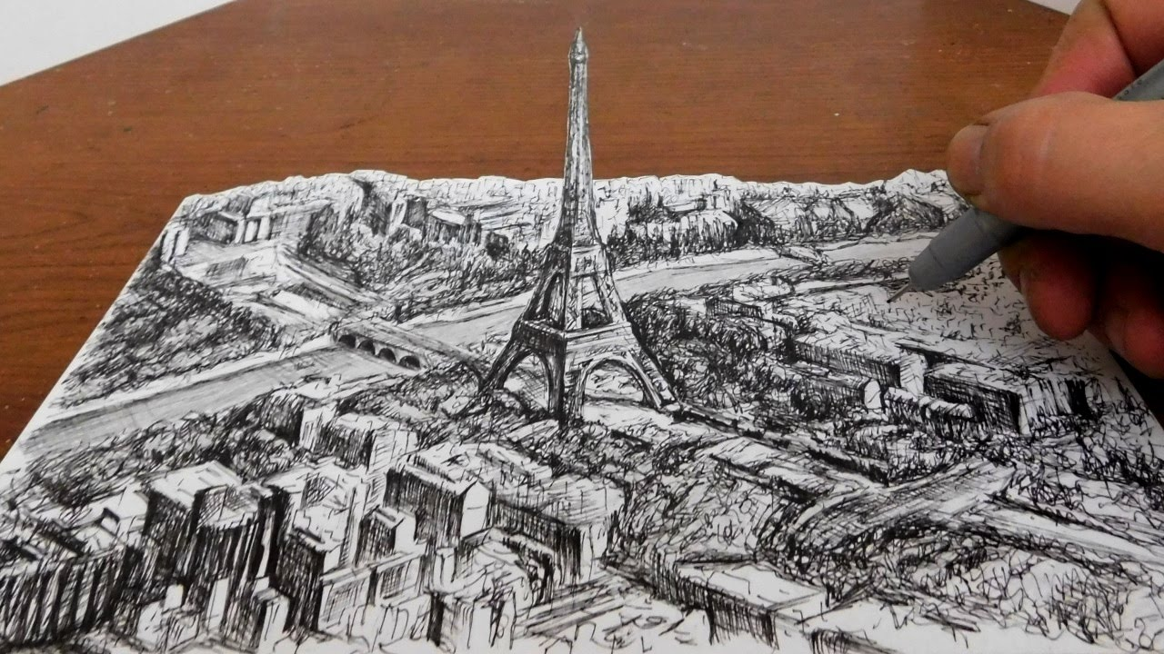 drawing the eiffel tower city landscape 3d art youtube
