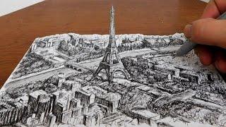 Drawing the Eiffel Tower - City Landscape 3D Art