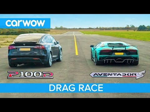 Lamborghini Aventador vs Tesla Model X – DRAG & ROLLING RACE – Can an EV SUV beat a supercar?