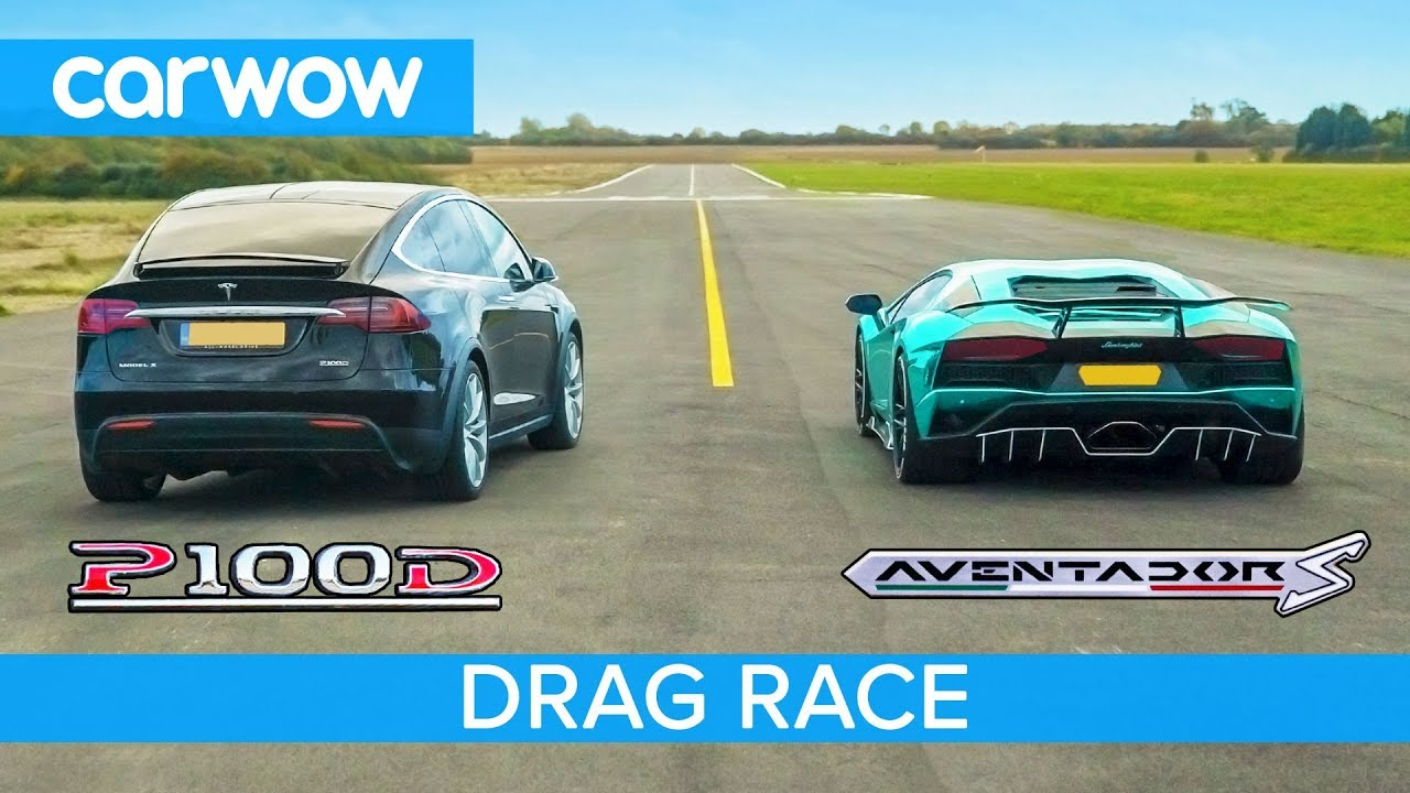 Lamborghini Aventador Vs Tesla Model X Drag Rolling Race Can An Ev Suv Beat A Supercar