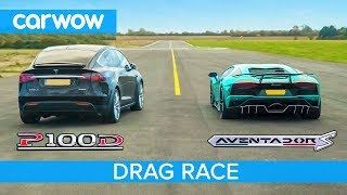 Download Lamborghini Aventador vs Tesla Model X - DRAG & ROLLING RACE - Can an EV SUV beat a supercar? Mp3 and Videos