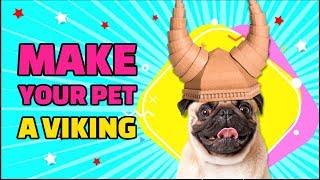 DIY Cardboard Helmet Fit For A Viking Dog
