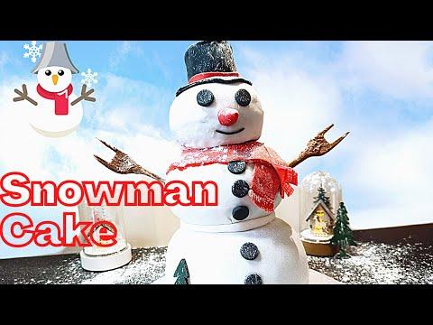 gâteau-bonhomme-de-neige-🎄-🎇-⛄-recette-facile-et-pate-a-sucre-design-|-snowman-cake