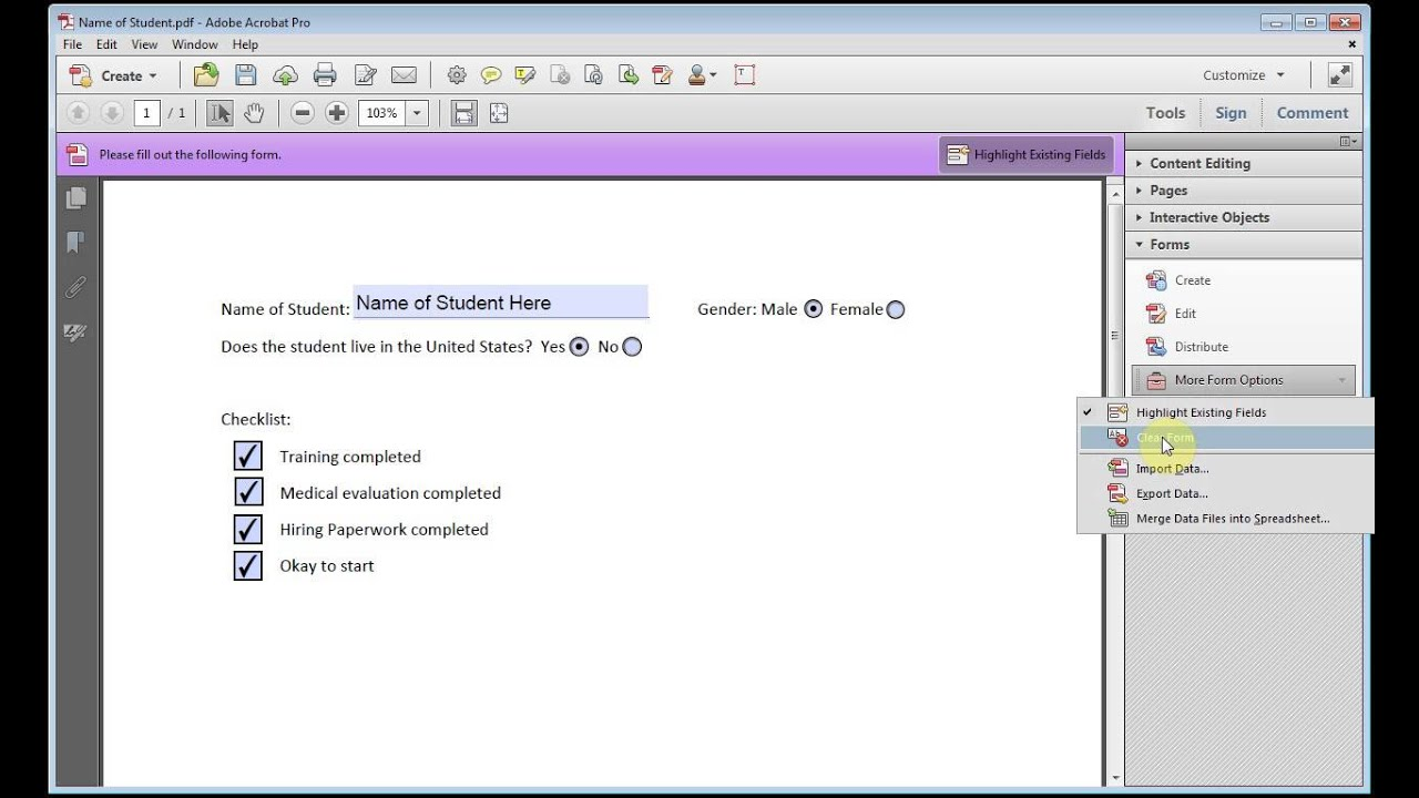 Adobe Acrobat How to Clear All Data From PDF Form Including Radial ...