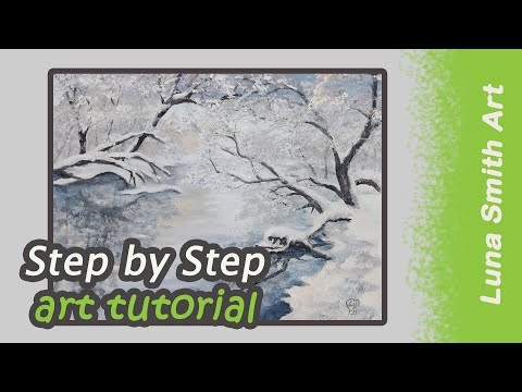 Winter sunrise landscape Demo painting tutorial Luna Smith Art