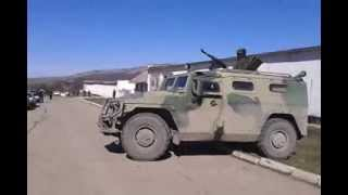 Russian Miltary Vehicle Tiger can not Climb Over the Curb in Perevalnoe Crimea Ukraine