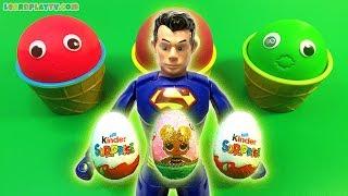 Супермен яйце сюрприз іграшки відкриваємо постійного сюрприз яйця іграшки для малюків