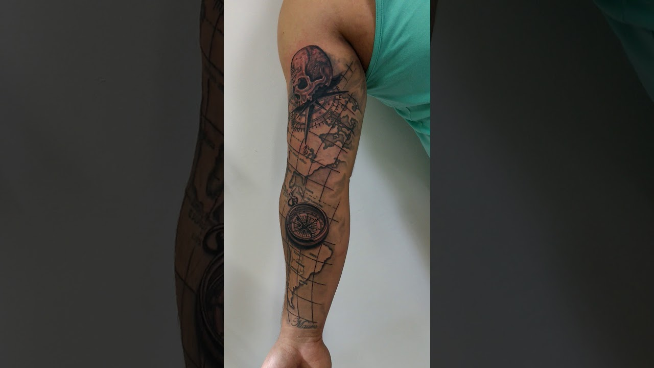 Tattoo sombreada mapa b ssola youtube for Tatoo bussola