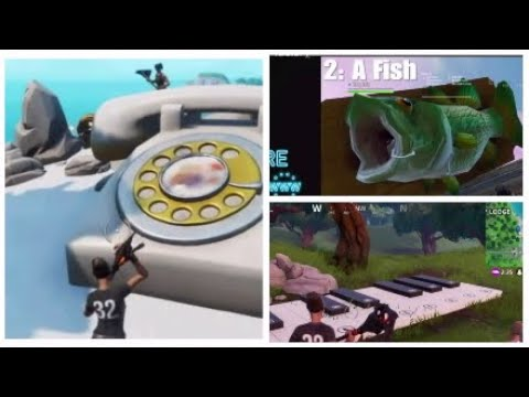 Fortnite week 2 Season 9 Challenge Guide - A oversized phone, a fish, and a big piano.