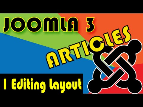 Joomla 3 Tutorials: Article Options, Editing Layout