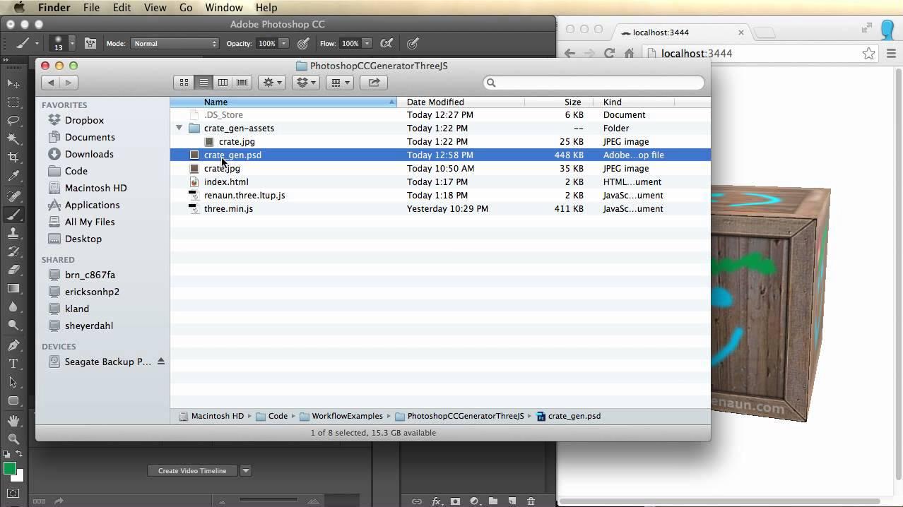 Live three js Texture Updating with Photoshop CC - Renaun Erickson
