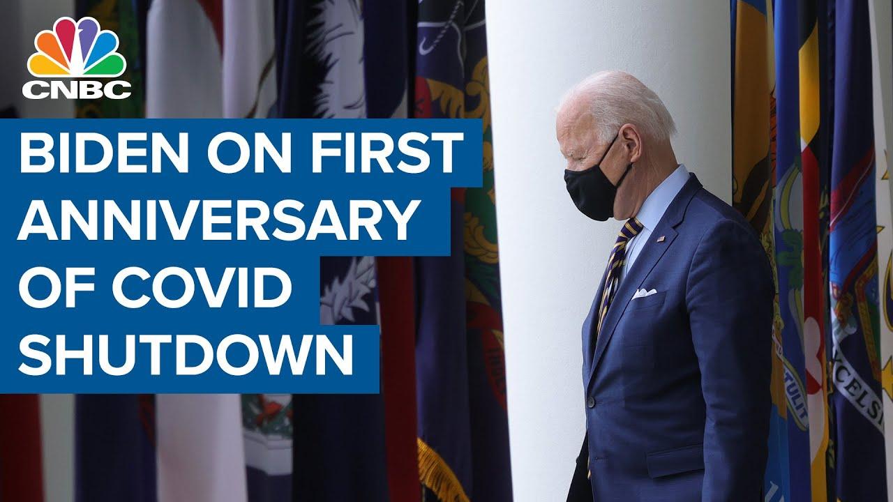 President Joe Biden addresses nation on first anniversary of Covid shutdown