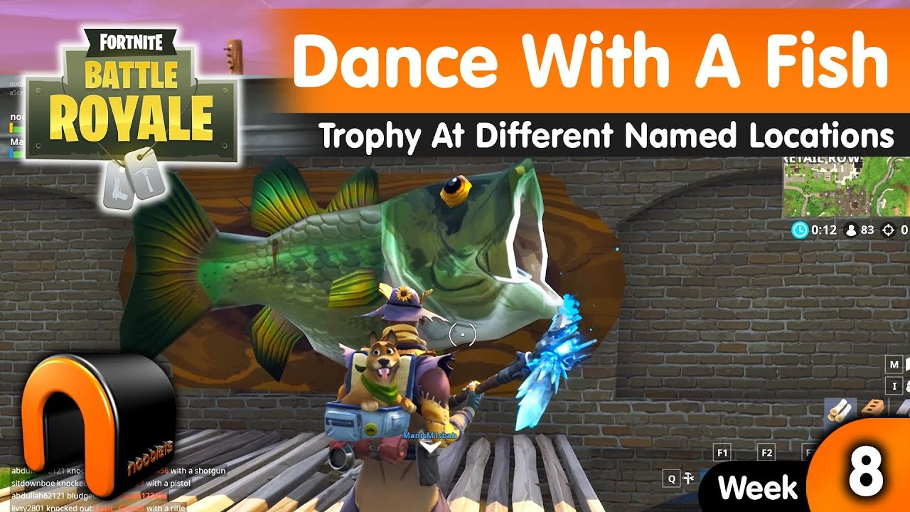 Fortnite Dance With A Fish Trophy At Different Named Locations Youtube
