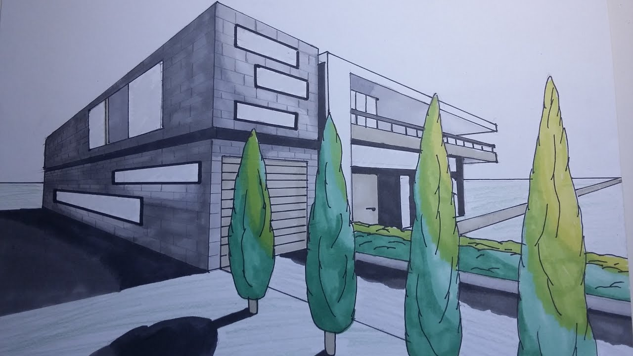 DRAWING TIMELAPSE modern house sketch 1 YouTube
