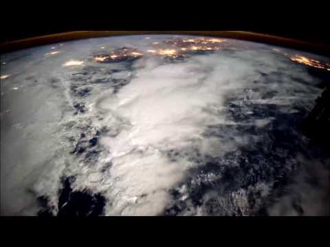 High power. Space. Atmosphere. View from the satellite. Storm. Thunder.