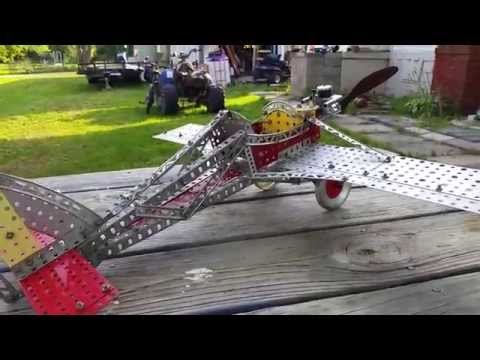 A C Gilbert Erector Set Airplane and Gilbert .11 glow engine