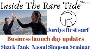 Launch party info, business partners first surf, seminar savages attend another.