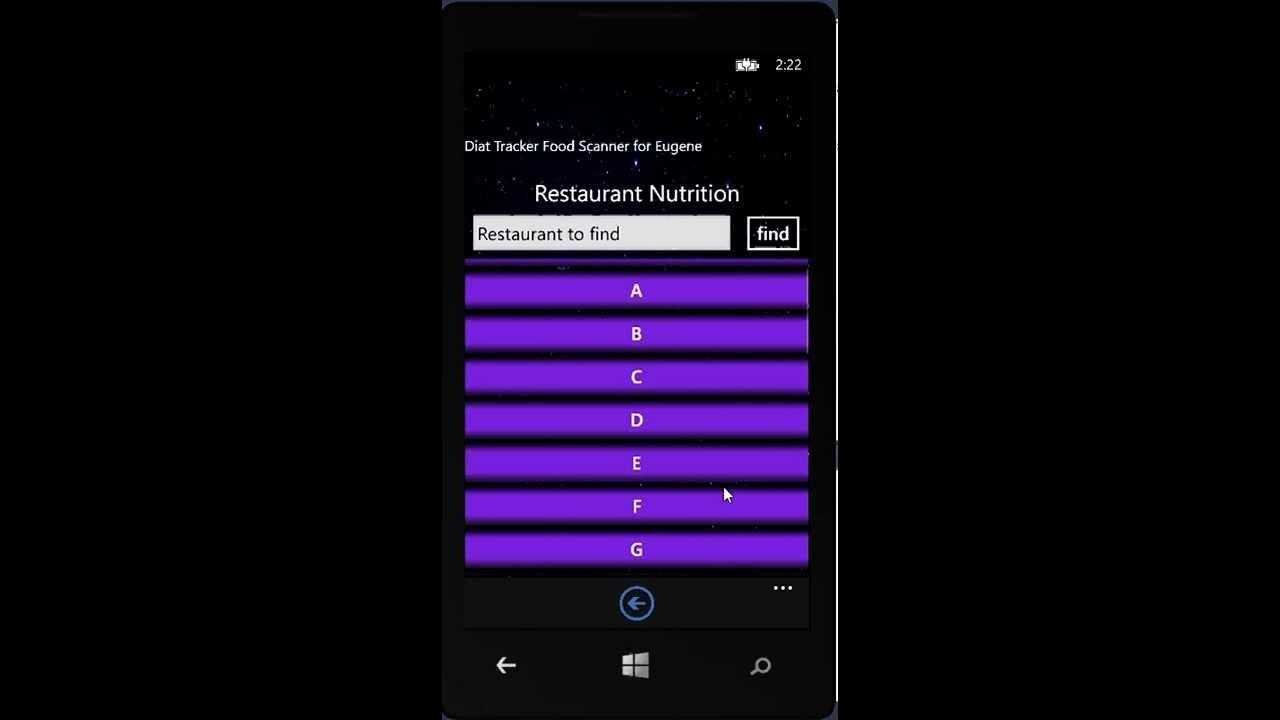 windows phone weight tracker