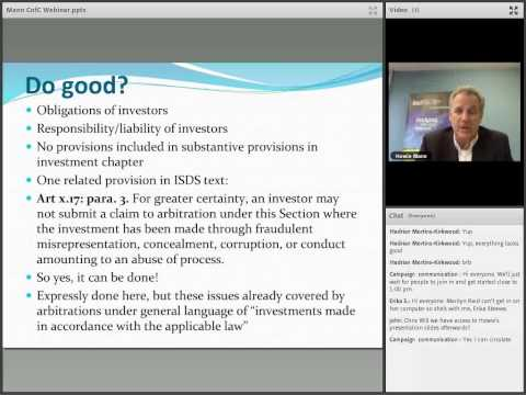 Webinar with Howard Mann on CETA Investment & ISDS