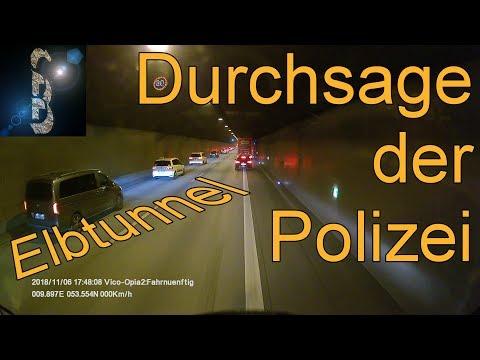 Durchsage der Polizei im Elbtunnel, Hamburg. Die schnellste #Rettungsgasse überhaupt!