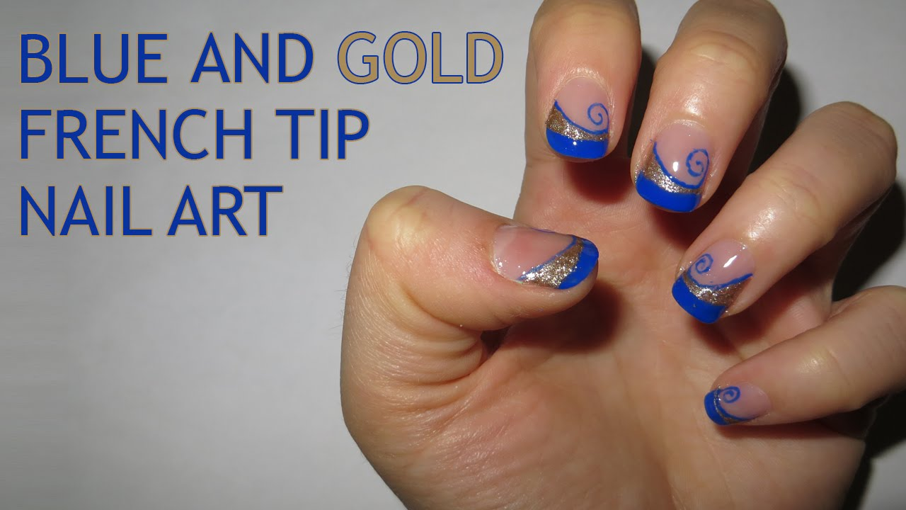 Blue And Gold French Tip Nail Art Requested Youtube