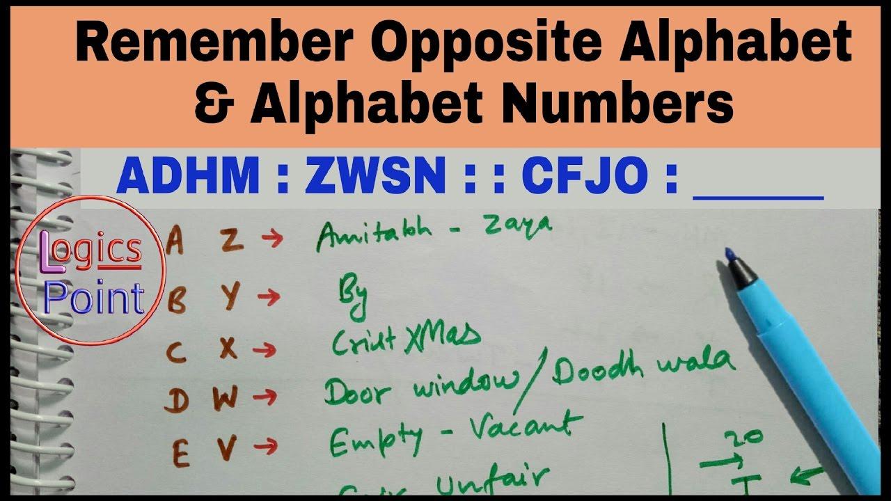 reasoning trick to remember opposite alphabet letter