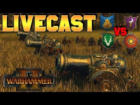 Wood Elve (Turin) & Dwarfs v. Dark Elves & Lizardmen - THE DAWICANNON |Total War: Warhammer 2
