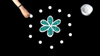 Very Easy Kolam with 5X3 Dots ☆ Rangoli Kolam ☆ Easy Rangoli ☆ Muggulu ☆ Easy & Simple Rangoli