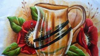 Como pintar Papoulas Vermelhas e vaso transparente em tecido