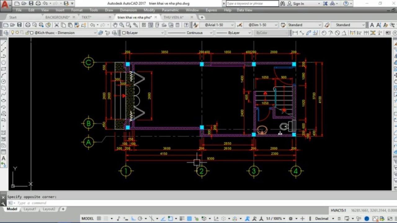 Triển khai bản vẽ kiến trúc nhà phố – Video 5: ghi kích thước hoàn thiện mặt bằng tầng 1