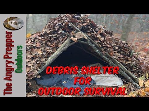 Debris Hut Shelter For Outdoor Survival