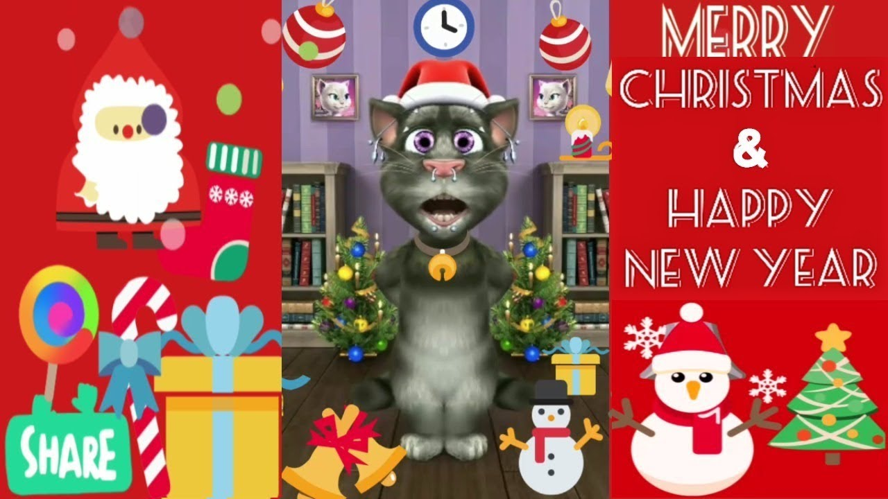 Happy Merry Christmas Wishes Funny Song In Hindi By Talking Tom 1080p  - YouTube