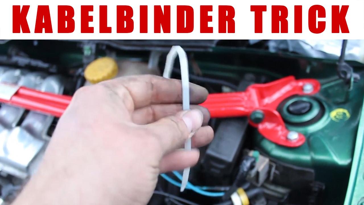 Schelle durch Kabelbinder ersetzen - Trick Schrauber Hack :P - YouTube