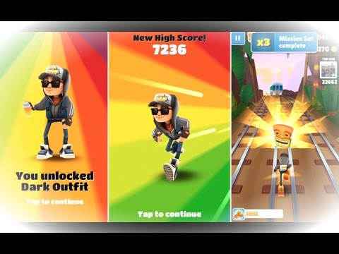 Unlocking Dark Outfit and Completing Mission Set 2 on Subway Surfers!