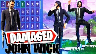 DAMAGED JOHN WICK Fortnite Skin (Keanu Reeves JW3 movie) all Dances & Emotes combos #FortniteLeaks