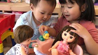 レミンちゃんソランちゃんが姉妹喧嘩!?お風呂のおもちゃを取り合い??Remin & Solan Bath set Toys