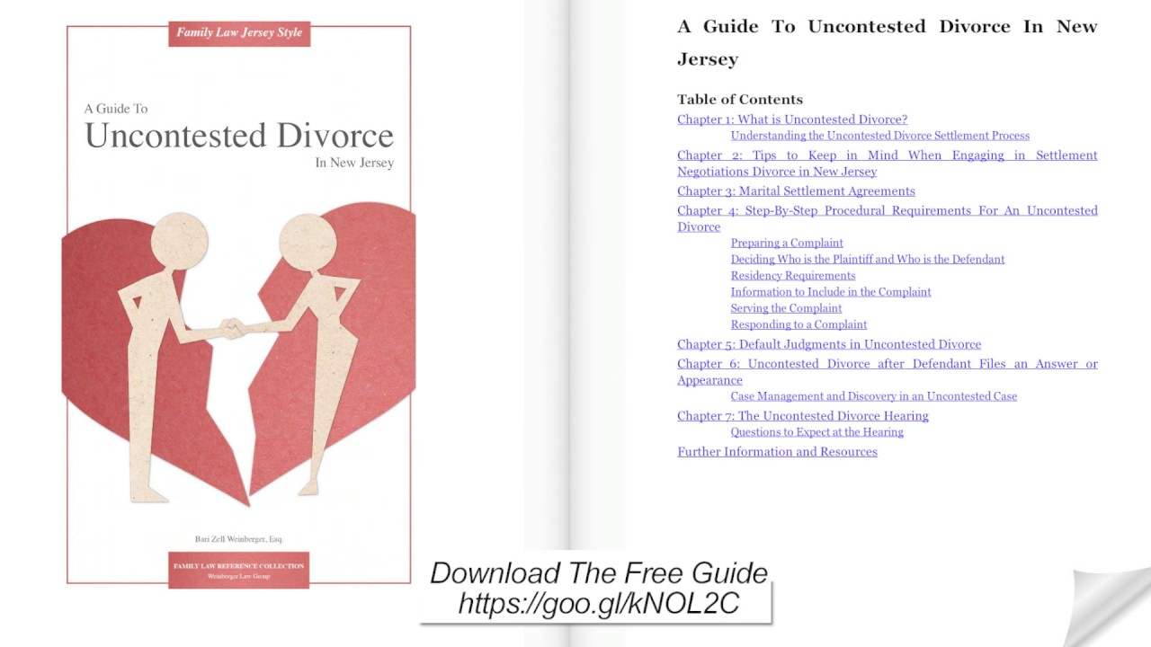 A Guide To Uncontested Divorce In New Jersey Youtube