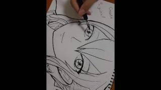 Drawing my character! 線画の早送り word quiz #6