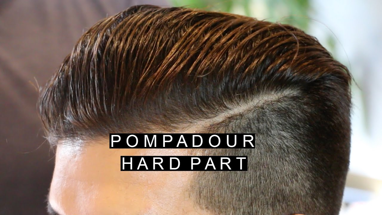 Men S Pompadour Fade Hairstyle With Hard Part Long Hair To Short