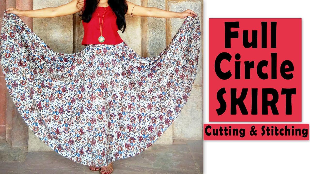0bfe97f2c8 Full Circle Skirt Cutting & Stitching | Full Flared Skirt Tutorial ...