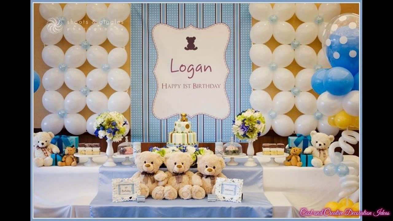 Baby girl first birthday party decorations at home ideas for Baby birthday decoration photos