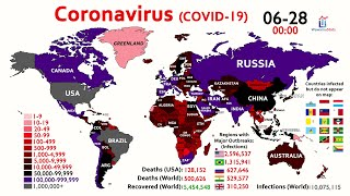 10 Million Coronavirus Cases \u0026 500,000 Deaths Worldwide (World Map Timelapse)