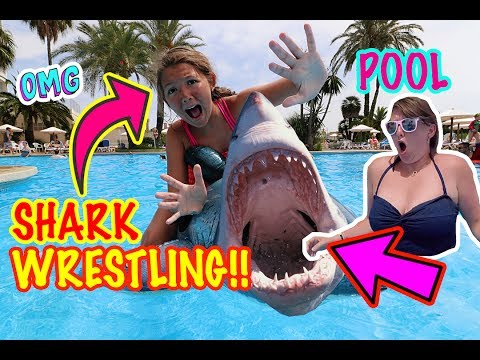 SWIMMING POOL SHARK WRESTLING!!
